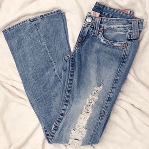 True Religion Joey Super Flare Distressed Jeans